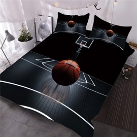 Basketball on the Court Printed 3-Piece 3D Black Comforter Sets