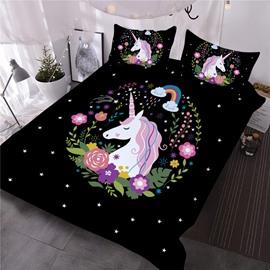 Unicorn Flowers below Rainbow Printed Black 3D 4-Piece Bedding Sets/Duvet Covers