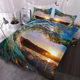 Water Heart-shaped Sunset Scenery Printing 3D 3-Piece Comforter Sets