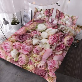 Bouquets of Rose Flowers Printed 3-Piece 3D Comforter Sets