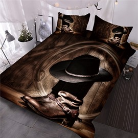 Wild West Themed Cowboy Hat and Boots Printed 3D 3-Piece Comforter Sets
