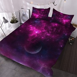 Orchid Purple Moon Space And Galaxy Printed 3-Piece Polyester Comforter Sets
