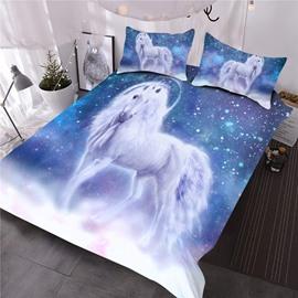 Unicorns In Blue Wonderland Printed 3-Piece Polyester Comforter Sets