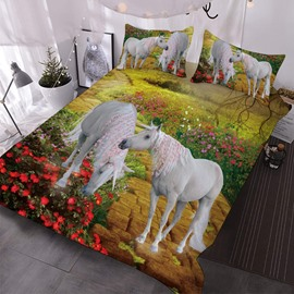 Two Unicorns With Little Pink Flowers In The Bushes 3D Printed 3-Piece Comforter Sets