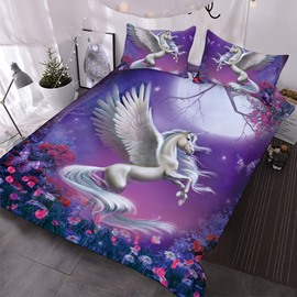 White Unicorn Leaping Among Roses In The Purple Night 3D Printed 3-Piece Comforter Sets