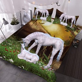 The Mother Unicorn And Her Baby On The Grass 3D Printed 3-Piece Comforter Sets