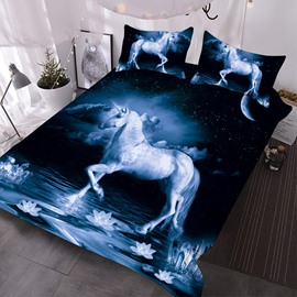 The Unicorn On The Surface Of A Calm Dark Lake 3D Printed 3-Piece Comforter Sets
