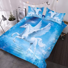 A White Unicorn With Wings In The Blue Sky 3D Printed 3-Piece Comforter Sets