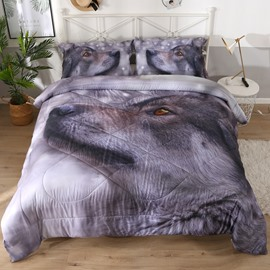 Gray Wolf Proud Wolf 3D Printed 3-Piece Polyester Comforter Sets
