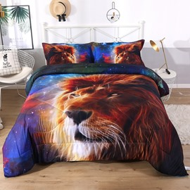 Lion Looking At The Galaxy 3D Printed 3-Piece Polyester Comforter Sets