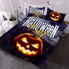 Evil Pumpkin Halloween Theme 3D Printed 3-Piece Polyester Comforter Sets