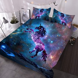 Jumping Unicorn in The Galaxy 3D Printed 3-Piece Polyester Comforter Sets