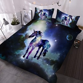 Unicorn Standing in The Galaxy 3D Printed 3-Piece Polyester Comforter Sets