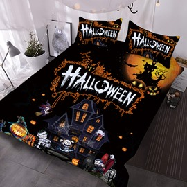 Trick Or Treat Halloween Theme 3D Printed 3-Piece Polyester Comforter Sets