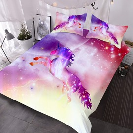 Pink Unicorn in Galaxy 3D Printed 3-Piece Polyester Comforter Sets