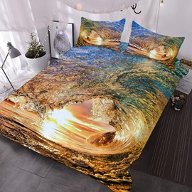 Rolling Waves In The Sun 3D Printed 3-Piece Polyester Comforter Sets