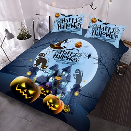 Happy Halloween 3D Printed 3-Piece Polyester Comforter Sets