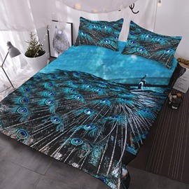 Peacock 3D Animal Pattern Comforter 3-Piece Peacock Blue Comforter Sets with 2 Matching Pillow Covers
