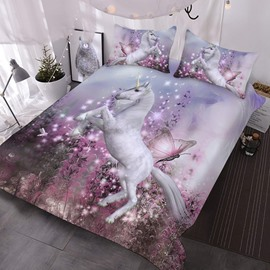 Butterflies and Unicorns Comforter 3D Animal Printed 3-Piece Comforter Sets wth 2 Pillowcases
