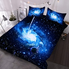 Blue Eddy 3D Galaxy Comforter 3-Piece Soft Comforter Sets with 2 pillowcases