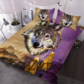 Indian Wolf 3D Animal Comforter 3-Piece Soft Comforter Sets with 2 Pillowcases