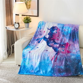 Jumping Unicorn and Galaxy Blue Printing 3D Blanket