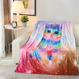 Innocent Cat with Wings Shiny Colorful Printing 3D Blanket