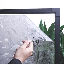 3D Static Floral Decorative Privacy No Glue Window Films for Glass