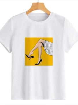 Beddinginn Round Neck Standard Short Sleeve Hand Painted Summer Women's T-Shirt