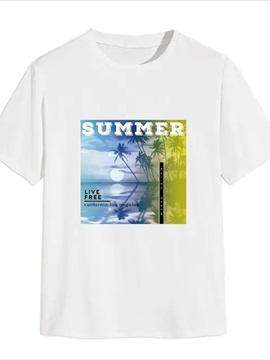 Beddinginn Print Letter Casual Straight Men's T-shirt