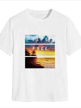 Beddinginn Letter Short Sleeve Casual Print Men's T-shirt