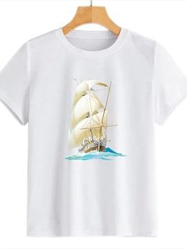 Beddinginn Short Sleeve Standard Round Neck Color Block Summer Women's T-Shirt