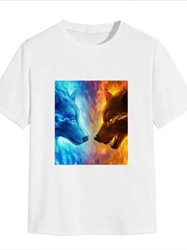 Beddinginn Color Block Casual Print Short Sleeve Men's T-shirt