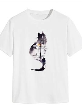 Beddinginn Short Sleeve Print Cat Casual Men's T-shirt