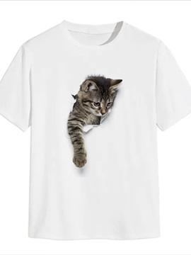 Beddinginn Casual Short Sleeve Print Cat Men's T-shirt