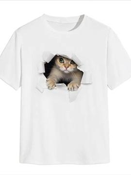 Beddinginn Casual Cute Cat Print Straight Men's T-shirt