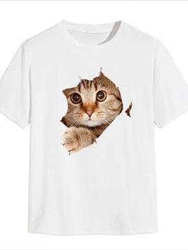 Beddinginn Casual Sweet Cat Print Straight Men's T-shirt