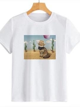 Beddinginn Short Sleeve Round Neck Standard Small Cat Straight Women's T-Shirt