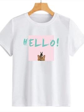 Beddinginn Creative Cat Pattern Round Neck Standard Short Sleeve Fall Women's T-Shirt