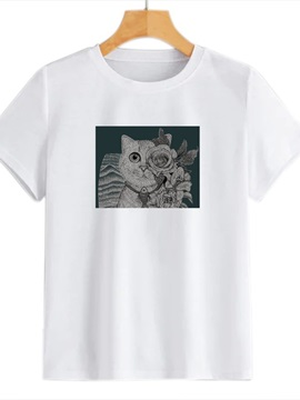 Beddinginn Cute Cat Round Neck Standard Short Sleeve Straight Women's T-Shirt