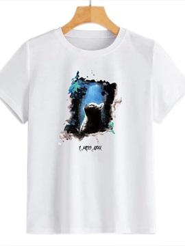 Beddinginn Standard Short Sleeve Animal Round Neck Summer Women's T-Shirt