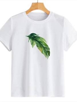 Beddinginn Short Sleeve Plant Standard Round Neck Straight Women's T-Shirt
