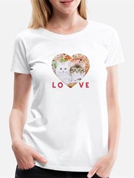 Beddinginn Standard Round Neck Short Sleeve Animal Fall Women's T-Shirt