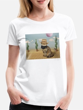 Beddinginn Hand Painted Short Sleeve Standard Round Neck Simple Women's T-Shirt
