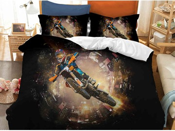 Crease-resistant Dynamic locomotive Printed 3-Piece 3D Bedding Sets/Duvet Covers