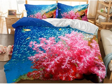 Special Red Coral Printed Breathable 3-Piece 3D Polyester Bedding Sets/Duvet Covers