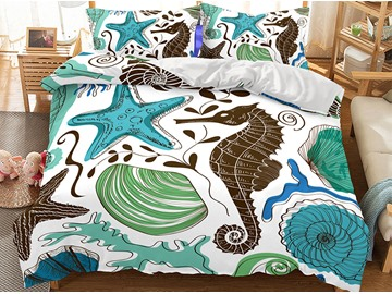 Breathable Cute Sea Otter Printed 3-Piece 3D Polyester Bedding Sets/Duvet Covers