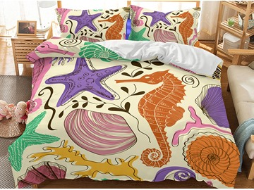 Soft Freehand Sketching Sea Otter Printed 3-Piece 3D Bedding Sets/Duvet Covers