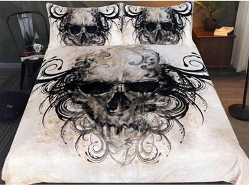 3D Black-haired Skull 3-Piece Bedding Sets/Duvet Cover Sets