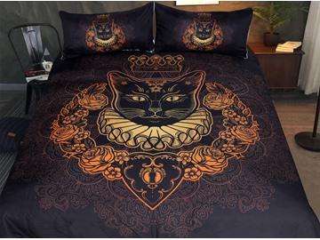 Cat 3-Piece 3D Gold Blocking Bedding Sets/Duvet Cover Sets